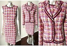 ESCADA Boucle Tweed Plaid VTG Velvet Sheath Pencil Dress Blazer Wool Suit Sz M