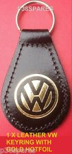 VW GOLF POLO PASSAT BEETLE TOUAREG TIGUAN JETTA BLACK REAL LEATHER KEY RING FOB