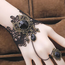 Women Lady Black Lace Bracelets Metal Crystal Beads with Adjustable Ring Fashion