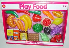 NEW 22 PIECE PLASTIC PLAY FOOD SET BANANAS CROISANT COFFEE FRUIT VEGETABLES PADG