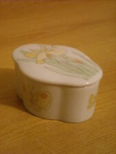 SHAPED CHINA TRINKET BOX DECORATED WITH BUTTERFLIES & YELLOW BEARDED IRIS