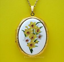 Porcelain Easter Spring DAFFODIL JONQUIL FLOWERS CAMEO Locket Pendant Necklace