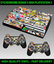 PLAYSTATION 3 CONSOLE STICKERBOMB VERSION II SKIN GRAPHICS & 2 CONTROLLER SKINS