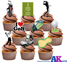 PARTY PACK - 36 X Golf Course Balls Clubs Buggy Players Mix EDIBLE CAKE TOPPERS