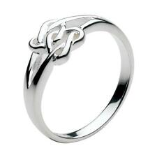 New Silver Celtic Double Lovers Heart Knot Ring Jewellery Gift Boxed Sizes L - P