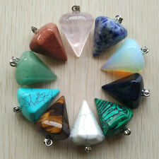Assorted natural stone mix hexagonal Pyramis Charms Pendants 10pcs/lot Wholesale