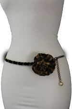 Women Fashion Belt Hip Waist Antique Gold Metal Chains Brown Leopard Flower S M
