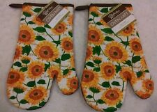 """NWT SET OF 2 SUNFLOWERS FLORAL BROWN YELLOW JUMBO 12"""" PRINTED KITCHEN OVEN MITTS"""