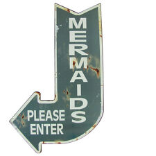 Mermaids Please Enter Curved Arrow Metal Sign Vintage Bar/Pub Wall Mermaid Decor