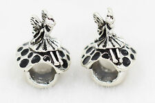 2pc Black mushroom angel paint Silver Charm Bead For 925 Necklace Bracelet Chain