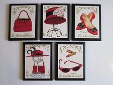 Fancy Red Hat Purse Shoes Sunglasses signs wall plaques Paris style pictures