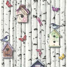 Muriva Bird Boxes Butterfly Bark Effect Wallpaper Multi Coloured (102549)