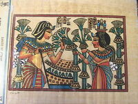 "EGYPTIAN WOMEN PAPYRUS PAPER HAND PAINTED ART 1994 ""RARE"" from UPPER EGYPT"