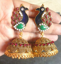 Antique Gold Plated Peacock CZ Stone Indian Weeding Earrings Jhumka Set b