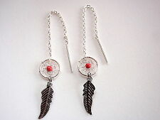 Very Small Red Coral Dream Catcher Threader Earrings Feather 925 Sterling Silver