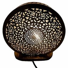 Moroccan Arabesque Table Accent Lamp in Carved & Engraved Brass & Frosted Glass