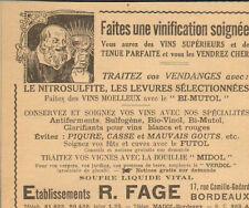 BORDEAUX ETS FAGE PRODUITS POUR VIGNOBLES PUBLICITE ADVERTISING 1941
