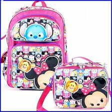"""Disney TSUM TSUM Large 16"""" inches Backpack with Lunch Bag For Kids - Licensed"""