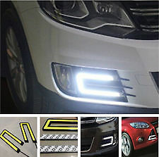 VW U-SHAPED 6000K TRON STYLE COB WHITE LED DAYTIME RUNNING LIGHTS X2 VOLKSWAGEN