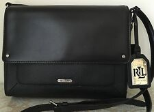 NWT RALPH LAUREN Fulton Messenger Black Leather tote BAG PURSE Satchel $178