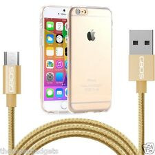 Samsung Galaxy A8  New Ultra Thin Clear Soft Gel Case Cover & 1M Gold USB Cable