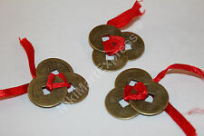 3x3 Ribbon Tied Chinese Ancient Brass Coins Lucky Feng Shui Protection