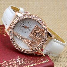 3D Rhinestone Crystal Eiffel Tower White Leather Band Wrist Watch Women Gift