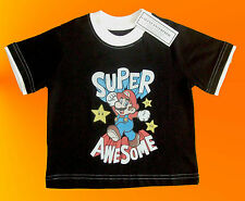 "BABY BOYS OR GIRLS BLACK SUPER MARIO ""AWSOME"" T SHIRT. 2 YEARS."