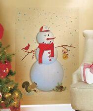 Snowman Red Bird Holiday Wall Decals Winter Decor Wall Sticker