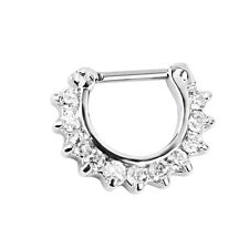 14G Silver Crystal Rhinestone Septum Nose Ring Piercing Jewelry