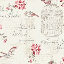 Holden Decor Floral Bird Cage Aviary French Typography Wallpaper Red Cream Gold