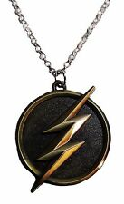 DC Comics THE FLASH Lightening Bolt Logo Antique Brass Finish PENDANT