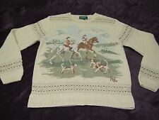 VINTAGE RALPH LAUREN HAND KNIT HORSE AND DOG SWEATER HUNTING SIZE MEDIUM