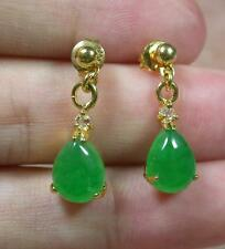 Gold Plate Green JADE Earring Earrings Teardrop Diamond (Imitation) 274253