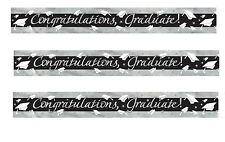 Graduation Party foil Banner party decorations CONGRATS GRADUATE black & silver