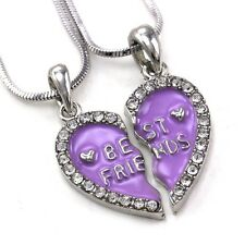 Best Friends Forever BFF Lavender Purple Heart Pendant Necklace Clear Stone a1