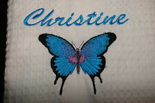 personalised embroidered tea towel BEAUTIFUL BUTTERFLY - add a name for FREE