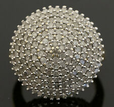 9Carat Yellow Gold 1.00ct Diamond Dome Cluster Ring (Size L) 20x20mm Head