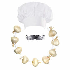 Chef / Cook Fancy Dress: Hat + Moustache + Garlic Onion Garland (WORLD BOOK DAY)