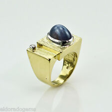 DESIGNER MEN'S RING SAPPHIRE & 0.04 CT. VS1-F DIAMOND 18K YELLOW GOLD size 9.25
