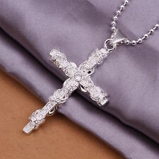 Men's Women's Unisex 925 Sterling Silver Necklace Pendant Cross B90