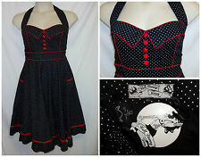 Hell Bunny Vixen Dress 4XL 4X 3X Polka Dot Sweetheart Rockabilly Red Trim Halter