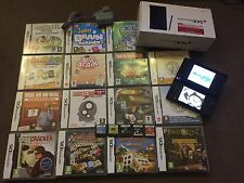 NINTENDO DSi NDSi BLACK CONSOLE +20 GAME BUNDLE brain teasrs dr who quests BOXED