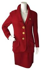 Chanel 40 Small 6 Red Blazer Suit Jacket Skirt Set Large Gold Buttons