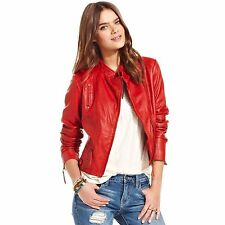 Lucky Brand Women's Red Leather Jacket Size Small