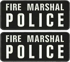 Fire Marshal Police  2 Embroidery Patch 4x10hook on back whitte letters