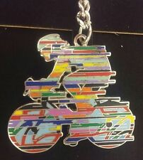 David Gerstein Champion Tour D'France Cyclist Metal Key ring Chain Bicycle Rider