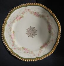"VINTAGE AUSTRIAN CHINA LUNCHEON PLATE PINK FLOWERS GOLD RIM 8 1/2"" UNK PATTERN"