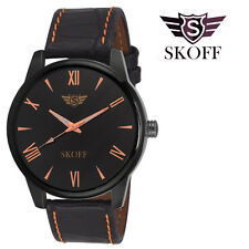 SKOFF Trendy Mens Boys Analog Semi Formal Watch -Black Golden Dial Leather Strap
