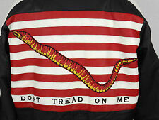 Double G USA Don't tread on me Leather Jacket Mens Medium M Black White Red